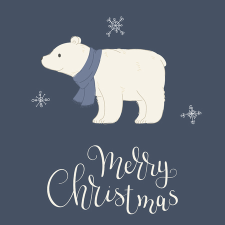 Hand drawn polar bear in a warm scarf. Merry Christmas hand lettering. Vector illustration