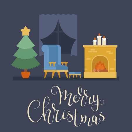 Empty room with Christmas tree, fire place and a chair near window. Merry Christmas hand lettering. Vector illustration