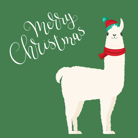 White llama in winter hat and scarf.  Merry Christmas hand lettering. Vector illustration