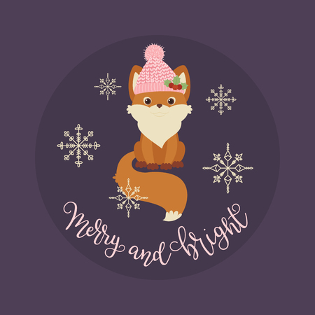 Cute fox in a winter hat. Merry and Bright hand lettering. Vector illustration Ilustração