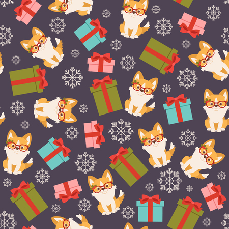 Welsh corgi puppy in decorated Christmas glasses with gift boxes. Vector seamless pattern or wallpaper.