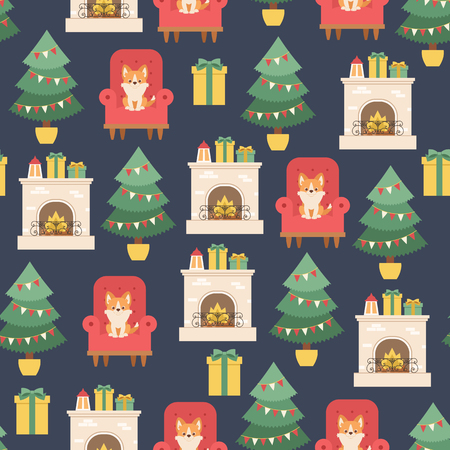 Christmas interior with fire place, Christmas tree and welsh corgi puppy sitting on a chair. Vector seamless pattern or wallpaper. Ilustração
