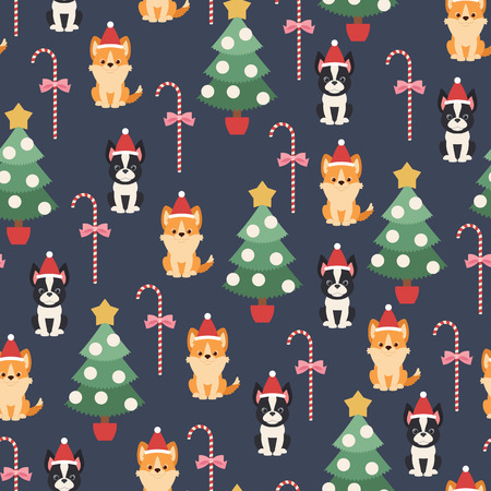 Boston terrier and welsh corgi puppies with Christmas tree and candy cane. Vector seamless pattern or wallpaper. Illustration