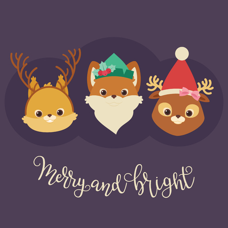 Forest or woodland animals (squirrel, fox, deer) in Christmas themed hats and headbands. Merry and Bright hand lettering. Vector illustration Ilustração