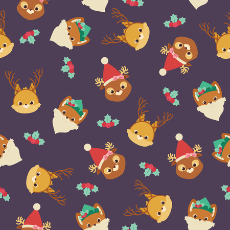 Forest or woodland animals (squirrel, fox, deer) in Christmas themed hats and headbands. Vector seamless pattern or wallpaper.