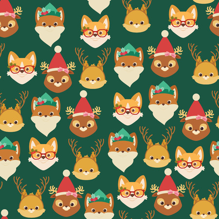 Forestwoodland and domestic animals (squirrel, fox, deer, welsh corgi dog) in Christmas themed hats and headbands. Vector seamless pattern or wallpaper. Ilustração