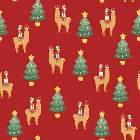 Llama wearing Santas hat with Christmas gift boxes and Christmas tree. Vector seamless pattern