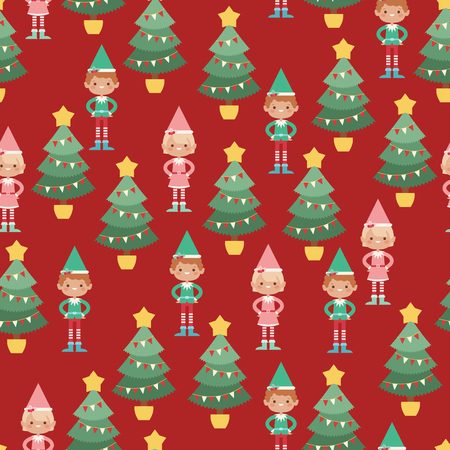 Elves boy and girl near Christmas tree. Vector seamless pattern Ilustração