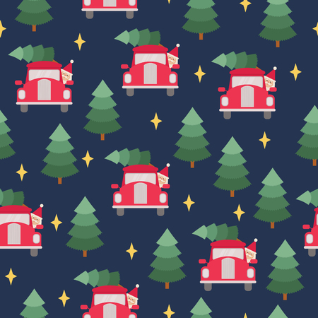 Santa Claus driving Christmas tree on a red car in the forest. Vector seamless pattern