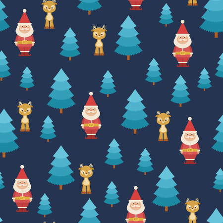 Santa Claus and deer in the forest. Vector seamless pattern