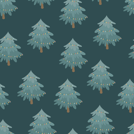 Decorated Christmas tree. Vector seamless pattern Ilustração