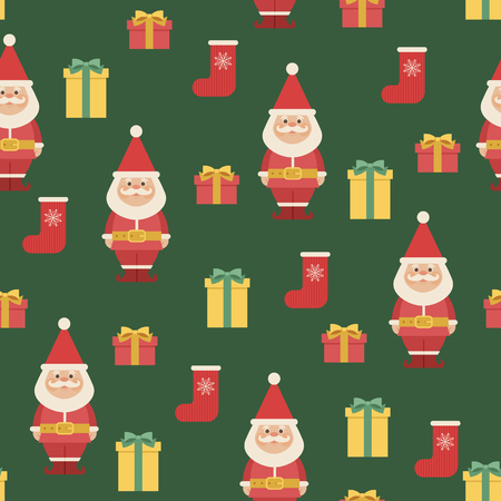 Santa Claus with Christmas stocking and gift boxes. Vector seamless pattern