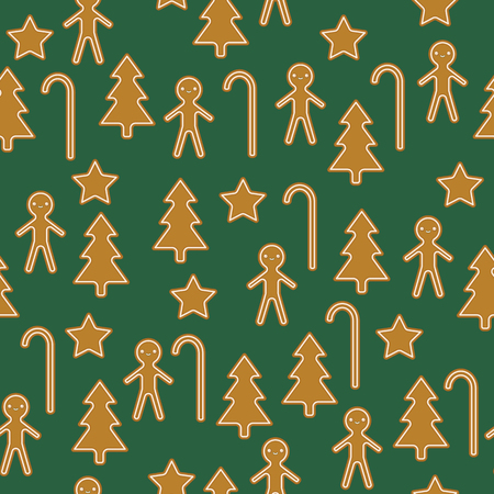 Christmas traditional baked cookies. Vector seamless pattern