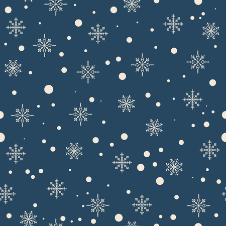 Snowflakes on a dark blue background. Vector seamless pattern Ilustração