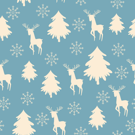 White deer, snowflake and Christmas tree silhouettes on blue background. Vector seamless pattern Ilustração