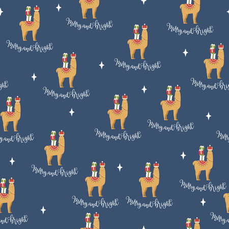 Llama wearing Santas hat with Christmas gift boxes and hand lettering Merry and Bright. Vector seamless pattern