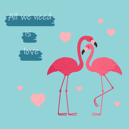 Two flamingos in love. Romantic Valentines Day greeting card template Ilustração