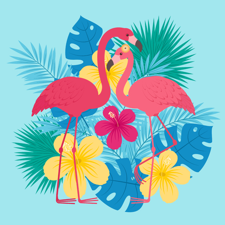 Two flamingos in love in front of tropical leaves and flowers. Romantic Valentines Day greeting card template