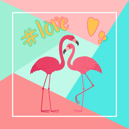 Two flamingos in love. Romantic Valentine's Day greeting card template Vectores