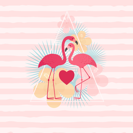 Two flamingos in love. Romantic Valentines Day greeting card template Illustration