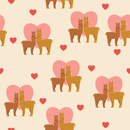 Two llamas in love. Romantic Valentines Day seamless pattern