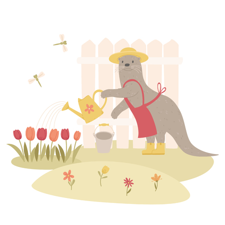 Spring gardening concept. Otter gardener watering flowers in garden. Cartoon handdrawn style. Vector illustration. Illustration