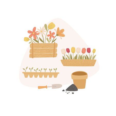 Spring gardening concept. Cartoon handdrawn style. Vector illustration.