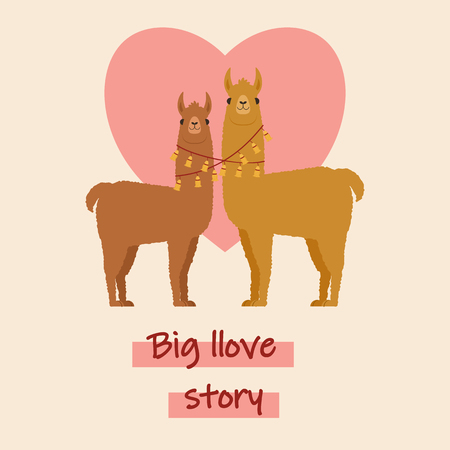 Two llamas in love. Romantic Valentines Day greeting card template