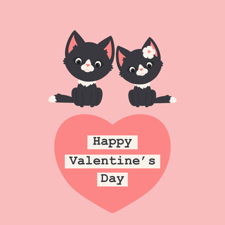 Two black kittenscats in love. Romantic Valentines Day greeting card template