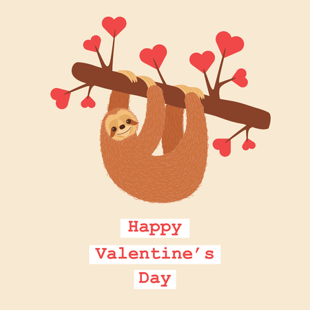 Happy sloth in love. Romantic Valentines Day greeting card template