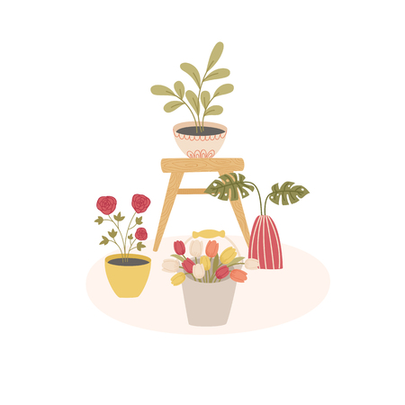 Indoorhouse plants scandinavian style concept. Cartoon handdrawn style. Vector illustration. Ilustração