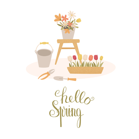 Spring gardening concept. Hello Spring handlettering. Cartoon handdrawn style. Vector illustration.