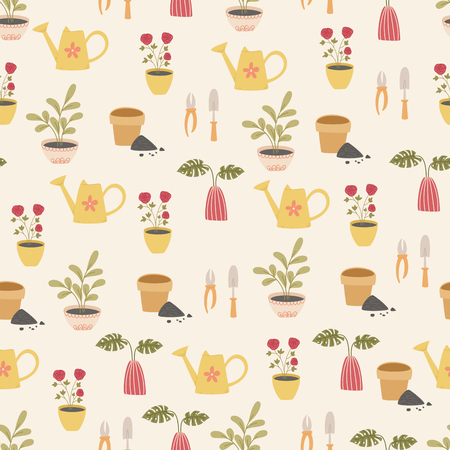 Spring plants and gardening work vector seamless pattern Illustration