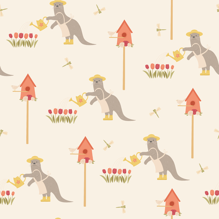 Cute otter character doing garden work. Vector seamless pattern