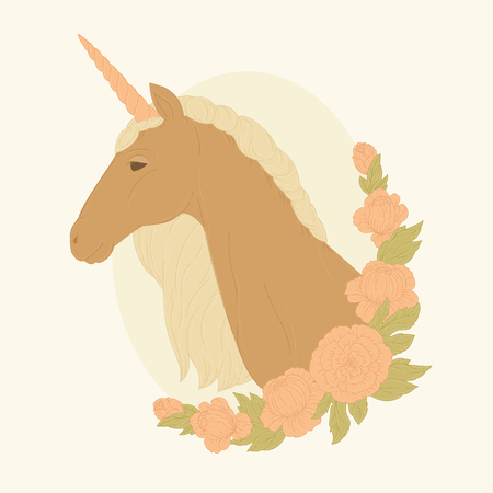 Unicorn in a floral wreath. Vector illustration