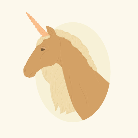Portrait of a brown unicorn. Vector illustration