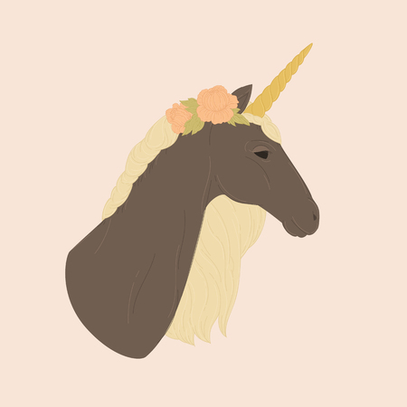 Portrait of a black unicorn. Vector illustration