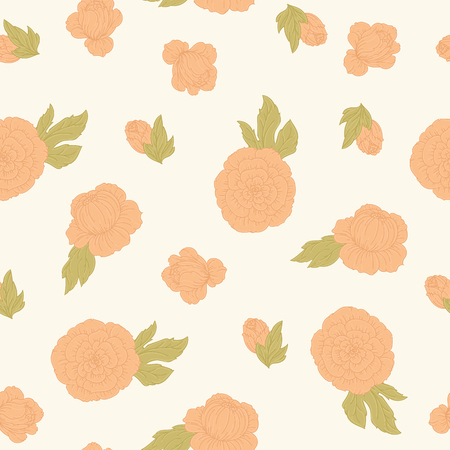 Hand drawn peonies vector seamless pattern.
