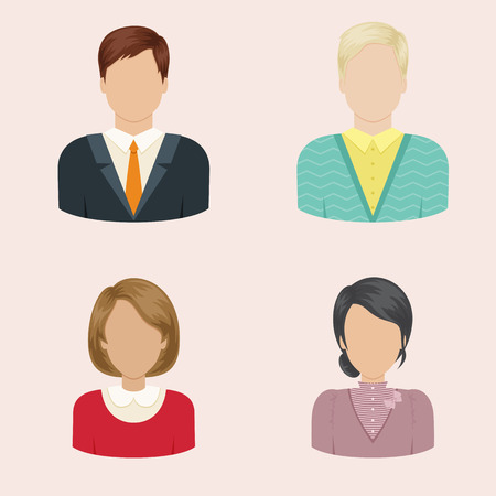 Set of men and women avatars or icons. Vector illustration