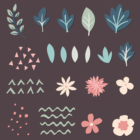 Cut out paper flowers, leaves and decor elements for digital scrapbooking. Vector illustration
