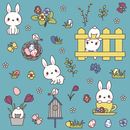 Easter icons bundle. Cute bunny or rabbit, spring flowers, Easter eggs, etc. Kawaii vector icons. Ilustração