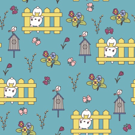 Cute bunny or rabbit, spring flowers, Easter eggs hunting. Easter vector seamless pattern