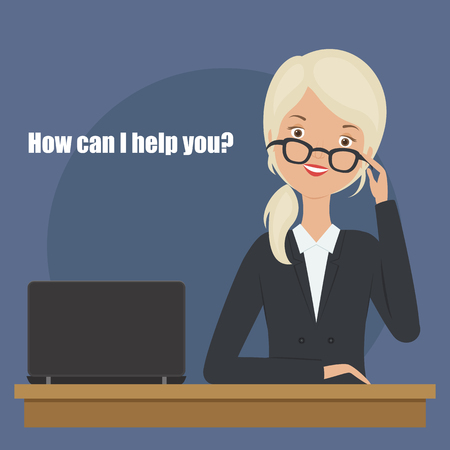 Young blond woman asking how can I help you?. Vector illustration