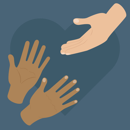 White hand reaching two black skin hands. Donation, helping or volunteering concept. Vector illustration Ilustração