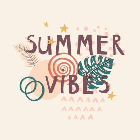 Summer Vibes cut out paper lettering with decor elements