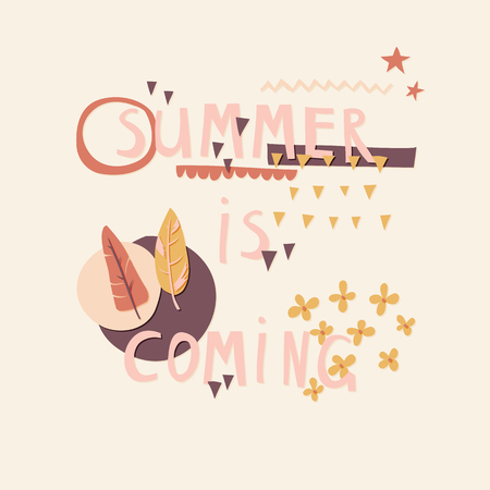 Summer Is Coming cut out paper lettering with decor elements