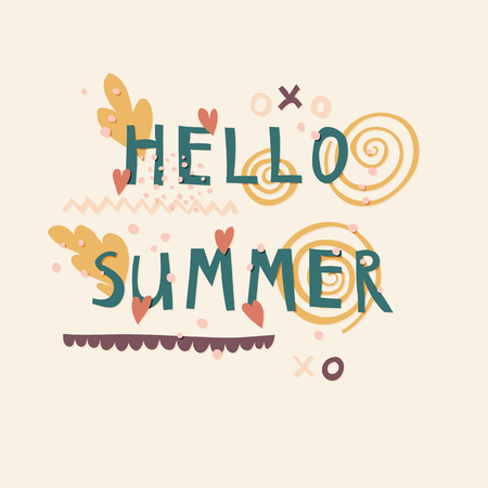 Hello Summer cut out paper lettering with decor elements