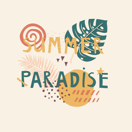 Summer Paradise cut out paper lettering with decor elements
