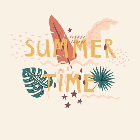 Summer Time cut out paper lettering with decor elements Ilustração