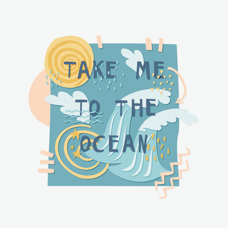 Take Me To The Ocean cut out paper lettering with decor elements